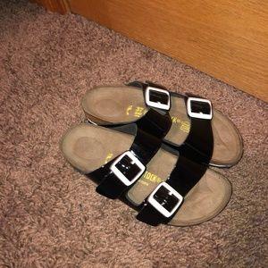 Birkenstock 37 7 Black Patent Arizona Sandals NWOT